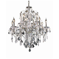 Elegant Lighting St. Francis 12 Light Dining Chandelier in Chrome with Elegant Cut Clear Crystal 2015D28C/EC