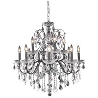 Elegant Lighting St. Francis 12 Light Dining Chandelier in Dark Bronze with Royal Cut Clear Crystal 2015D28DB/RC