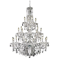 Elegant Lighting V2015G36C/EC St. Francis 24 Light 36 inch Chrome Foyer Ceiling Light in Elegant Cut