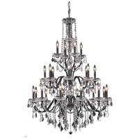 Elegant Lighting St. Francis 24 Light Foyer in Dark Bronze with Swarovski Strass Clear Crystal 2015G36DB/SS