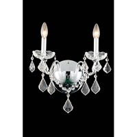 Elegant Lighting St. Francis 2 Light Wall Sconce in Chrome with Elegant Cut Clear Crystal 2015W2C/EC