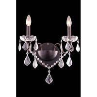 Elegant Lighting St. Francis 2 Light Wall Lamp in Dark Bronze with Royal Cut Clear Crystal 2015W2DB/RC