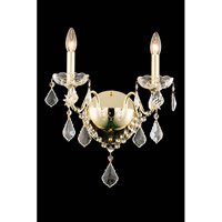 St. Francis 2 Light 13 inch Gold Wall Sconce Wall Light in Elegant Cut