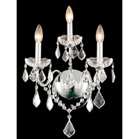 Elegant Lighting St. Francis 3 Light Wall Sconce in Chrome with Elegant Cut Clear Crystal 2015W3C/EC