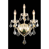 Elegant Lighting St. Francis 3 Light Wall Sconce in Gold with Elegant Cut Clear Crystal 2015W3G/EC