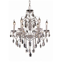 Elegant Lighting St. Francis 6 Light Dining Chandelier in Chrome with Elegant Cut Clear Crystal 2016D24C/EC