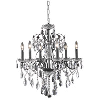 Elegant Lighting St. Francis 6 Light Dining Chandelier in Dark Bronze with Swarovski Strass Clear Crystal 2016D24DB/SS