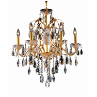Elegant Lighting St. Francis 6 Light Dining Chandelier in Gold with Elegant Cut Clear Crystal 2016D24G/EC