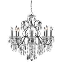 Elegant Lighting St. Francis 6 Light Dining Chandelier in Dark Bronze with Swarovski Strass Clear Crystal 2016D26DB/SS
