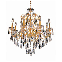 Elegant Lighting St. Francis 8 Light Dining Chandelier in Gold with Swarovski Strass Clear Crystal 2016D26G/SS