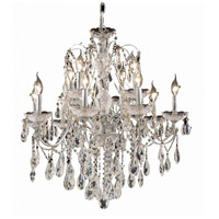 Elegant Lighting St. Francis 12 Light Dining Chandelier in Chrome with Elegant Cut Clear Crystal 2016D28C/EC