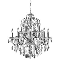 Elegant Lighting St. Francis 12 Light Dining Chandelier in Dark Bronze with elegant Cut Clear Crystal 2016D28DB/EC