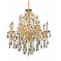 Elegant Lighting St. Francis 12 Light Dining Chandelier in Gold with Elegant Cut Clear Crystal 2016D28G/EC