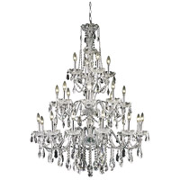 Elegant Lighting St. Francis 24 Light Foyer in Chrome with Royal Cut Clear Crystal 2016G36C/RC
