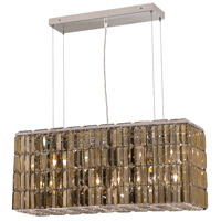 Maxime 8 Light 9 inch Chrome Dining Chandelier Ceiling Light in Golden Teak, Swarovski Strass