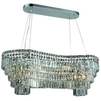Elegant Lighting Maxim 14 Light Dining Chandelier in Chrome with Elegant Cut Clear Crystal 2019D40C/EC