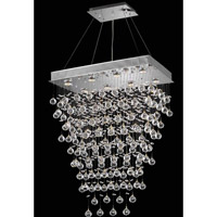 Elegant Lighting Galaxy 10 Light Dining Chandelier in Chrome with Swarovski Strass Clear Crystal 2021D28C(LED)/SS