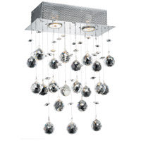 Elegant Lighting Galaxy 2 Light Wall Sconce in Chrome with Royal Cut Clear Crystal 2021W12C(LED)/RC