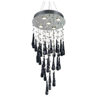 Elegant Lighting 2024D16C-GLB/RC Comet 5 Light 16 inch Chrome Dining Chandelier Ceiling Light in GU10, Clear and Black Prism Drops, Royal Cut