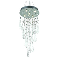 Comet 5 Light 16 inch Chrome Dining Chandelier Ceiling Light in GU10, Clear and White Prism Drops, Royal Cut