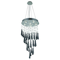 Elegant Lighting Comet 6 Light Dining Chandelier in Chrome with Royal Cut Clear Crystal and Black Prism Drops 2024D18C-GLB/RC