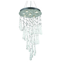 Comet 6 Light 18 inch Chrome Dining Chandelier Ceiling Light in GU10, Clear and White Prism Drops, Royal Cut