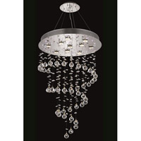 Galaxy 6 Light 18 inch Chrome Dining Chandelier Ceiling Light in LED, Clear, Elegant Cut