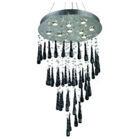 Elegant Lighting Comet 10 Light Dining Chandelier in Chrome with Royal Cut Clear Crystal and Black Prism Drops 2024D24C-GLB/RC