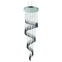 Elegant Lighting Comet 10 Light Foyer in Chrome with Royal Cut Clear Crystal and Black Prism Drops 2024G24C-GLB/RC