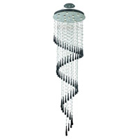 Elegant Lighting 2024G28C-GLB/RC Comet 12 Light 28 inch Chrome Foyer Ceiling Light in GU10, Clear and Black Prism Drops, Royal Cut