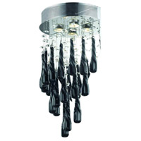 Elegant Lighting Comet 2 Light Wall Sconce in Chrome with Royal Cut Clear Crystal and Black Prism Drops 2024W12C-GLB/RC