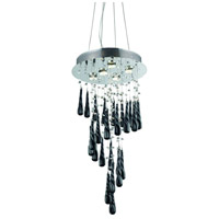 Elegant Lighting 2028D26C-GLB/RC Comet 5 Light 16 inch Chrome Dining Chandelier Ceiling Light in Clear and Black Prism Drops