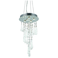 Elegant Lighting Comet 5 Light Dining Chandelier in Chrome with Royal Cut Clear Crystal and White Prism Drops 2028D26C-GLW/RC
