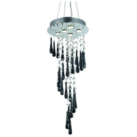 Elegant Lighting 2028G36C-GLB/RC Comet 5 Light 16 inch Chrome Foyer Ceiling Light in Clear and Black Prism Drops