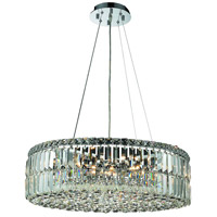 Elegant Lighting Maxim 12 Light Dining Chandelier in Chrome with Royal Cut Clear Crystal 2030D24C/RC
