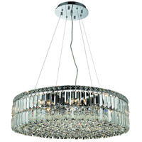 Elegant Lighting Maxim 12 Light Dining Chandelier in Chrome with Elegant Cut Clear Crystal 2030D28C/EC