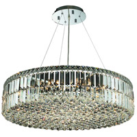Elegant Lighting Maxim 18 Light Dining Chandelier in Chrome with Elegant Cut Clear Crystal 2030D32C/EC