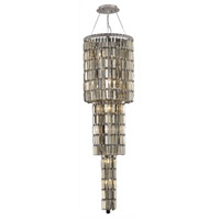 Elegant Lighting Maxim 12 Light Foyer in Chrome with Swarovski Strass Golden Teak Crystal 2030G54C-GT/SS