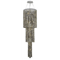 Elegant Lighting Maxim 12 Light Foyer in Chrome with Swarovski Strass Golden Teak Crystal 2031G54C-GT/SS