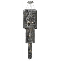 Elegant Lighting Maxim 12 Light Foyer in Chrome with Swarovski Strass Silver Shade Crystal 2031G54C-SS/SS