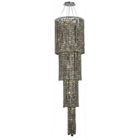 Elegant Lighting Maxim 18 Light Foyer in Chrome with Swarovski Strass Golden Teak Crystal 2031G66C-GT/SS