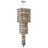 Elegant Lighting Maxim 14 Light Foyer in Chrome with Royal Cut Golden Teak Crystal 2032G54C-GT/RC