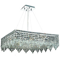 Elegant Lighting Maxim 12 Light Dining Chandelier in Chrome with Swarovski Strass Clear Crystal 2033D32C/SS