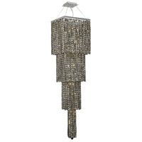 Elegant Lighting Maxim 18 Light Foyer in Chrome with Swarovski Strass Golden Teak Crystal 2033G66C-GT/SS