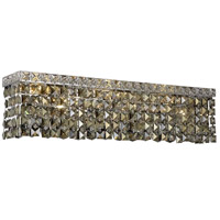 Elegant Lighting Maxim 6 Light Vanity in Chrome with Swarovski Strass Golden Teak Crystal 2033W26C-GT/SS
