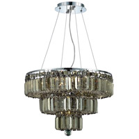 Maxime 9 Light 20 inch Chrome Dining Chandelier Ceiling Light in Golden Teak, Swarovski Strass