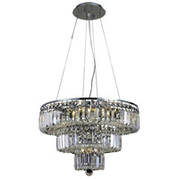 Elegant Lighting Maxim 9 Light Dining Chandelier in Chrome with Elegant Cut Clear Crystal 2036D20C/EC