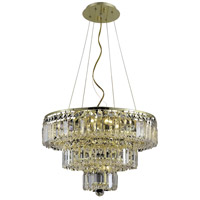 Elegant Lighting Maxim 9 Light Dining Chandelier in Gold with Swarovski Strass Clear Crystal 2036D20G/SS