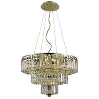 Elegant Lighting V2036D20G/SS Maxime 9 Light 20 inch Gold Dining Chandelier Ceiling Light in Clear Swarovski Strass
