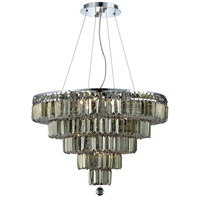 Elegant Lighting Maxim 14 Light Dining Chandelier in Chrome with Royal Cut Golden Teak Crystal 2036D26C-GT/RC
